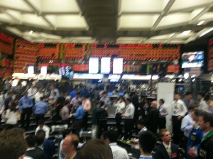 Caught in the frenzy of the trading pit.
